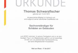 Urkunde BDSF Mietglied Schäden