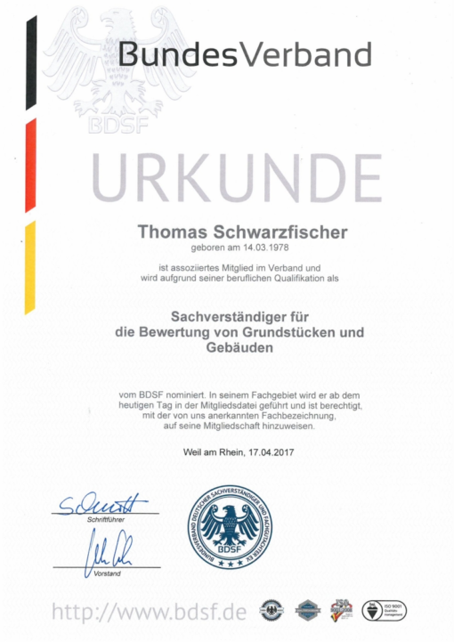 Urkunde BDSF Mietglied Wert