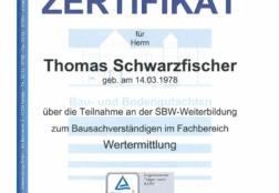 SBW Zertifikat Wertermittlung