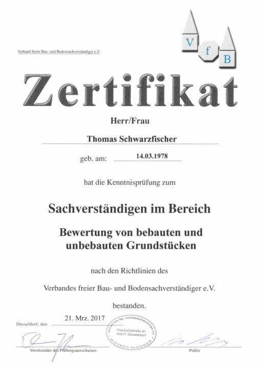 Zertifikat VfB Wert